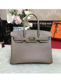 Hermes original togo leather birkin 25 bag H25-1 light gray