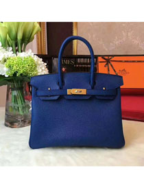 Hermes original togo leather birkin 25 bag H25-1 navy blue