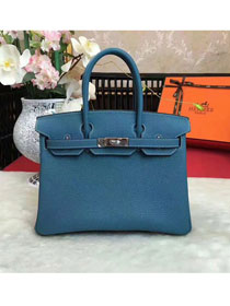 Hermes original togo leather birkin 25 bag H25-1 ocean blue