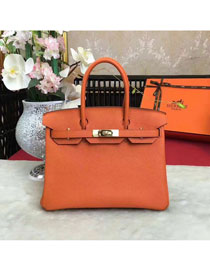 Hermes original togo leather birkin 25 bag H25-1 orange