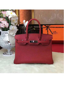Hermes original togo leather birkin 25 bag H25-1 wine