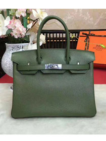 Hermes original togo leather birkin 30 bag H30-1 blackish green