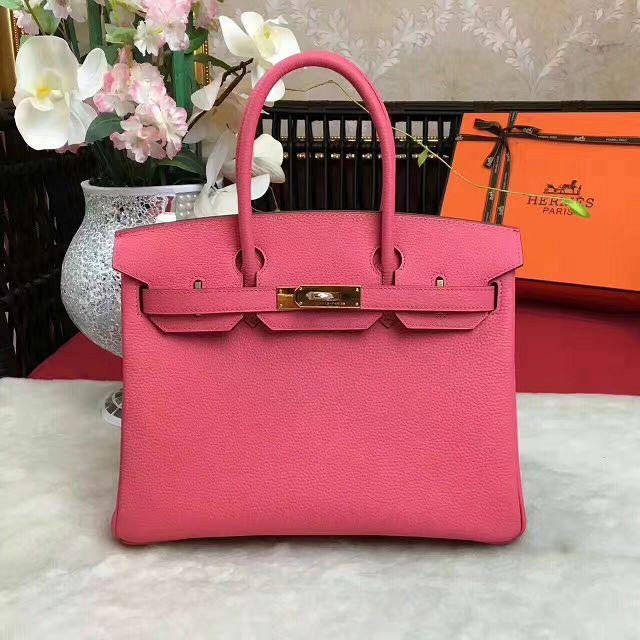 Hermes original togo leather birkin 35 bag H35-1 rose red 417bb453ae70e