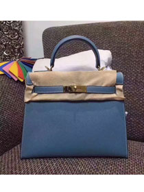 Hermes original epsom leather kelly 28 bag K28-1 blue