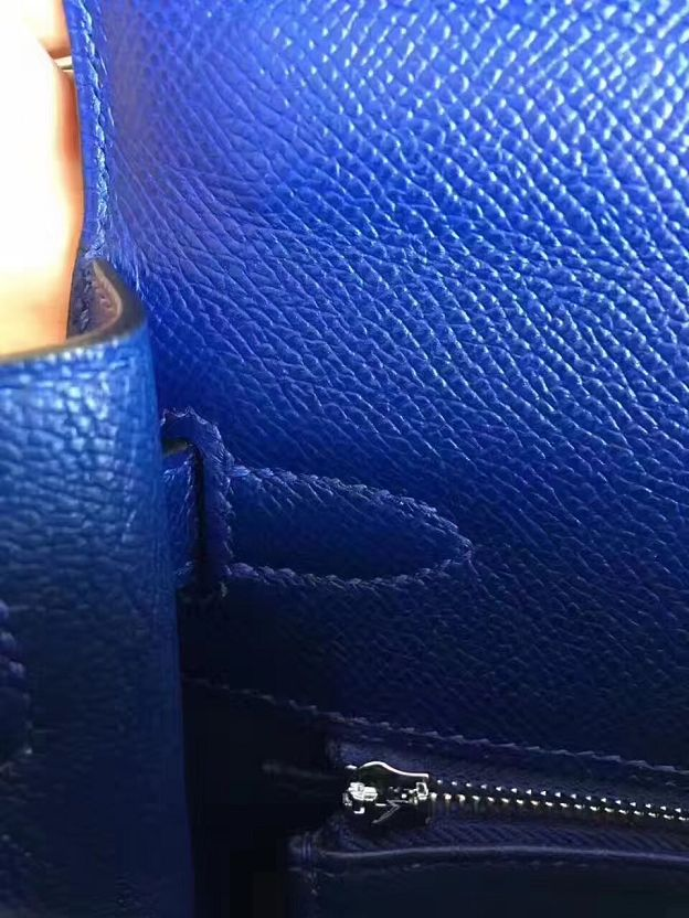 Hermes original epsom leather kelly 28 bag K28-1 electric blue