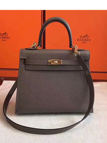 Hermes original epsom leather kelly 28 bag K28-1 dark gray