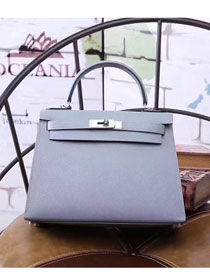 Hermes original epsom leather kelly 28 bag K28-1 light blue