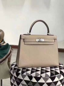 Hermes original epsom leather kelly 28 bag K28-1 light gray