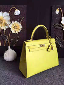 Hermes original epsom leather kelly 28 bag K28-1 yellow