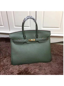 Hermes top togo leather birkin 25 bag H25-2 blackish green