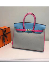 Hermes top togo leather birkin 25 bag H25-2 blue&gray