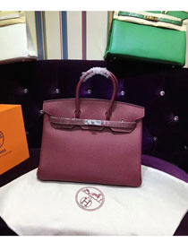 Hermes top togo leather birkin 25 bag H25-2 burgundy