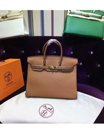 Hermes top togo leather birkin 25 bag H25-2 coffee