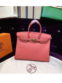 Hermes top togo leather birkin 25 bag H25-2 coral