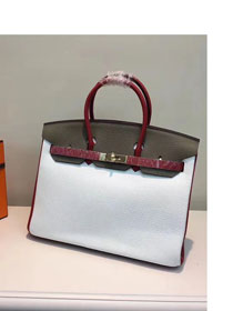 Hermes top togo leather birkin 25 bag H25-2 gray&white