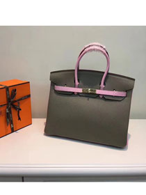 Hermes top togo leather birkin 25 bag H25-2 gray&pink