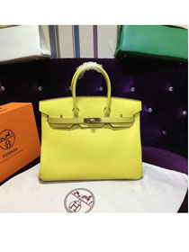 Hermes top togo leather birkin 25 bag H25-2 lemon yellow