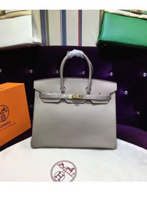 Hermes top togo leather birkin 25 bag H25-2 light gray