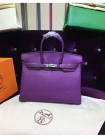 Hermes top togo leather birkin 25 bag H25-2 purple