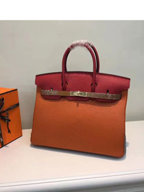 Hermes top togo leather birkin 25 bag H25-2 red&orange