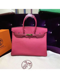 Hermes top togo leather birkin 25 bag H25-2 rose red