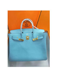 Hermes top togo leather birkin 25 bag H25-2 sky blue