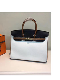 Hermes top togo leather birkin 25 bag H25-2 white&black