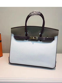 Hermes top togo leather birkin 30 bag H30-2 gray&white