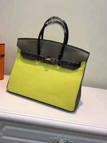 Hermes top togo leather birkin 30 bag H30-2 yellow&black