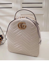 2017 GG Marmont original quilted leather backpack 476671 white