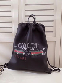 2017 GG original calfskin Coco Capitan logo backpack 494053 black