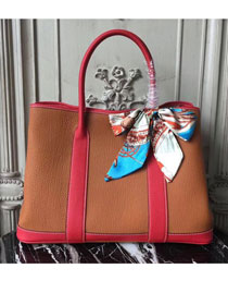Hermes hand-made original calfskin garden party 36 bag G0360 red&coffee