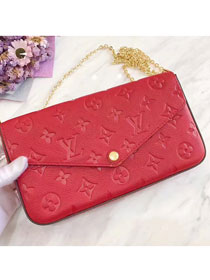Louis vuitton original monogram empreinte pochette felicie M64065 red