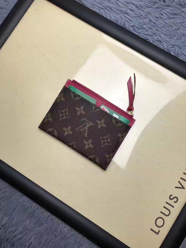 promo code ff500 6744d Louis vuitton monogram canvas zipped card holder M62257 rose red