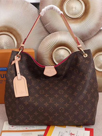 2018 louis vuitton original monogram canvas graceful hobo mm M43703 rose