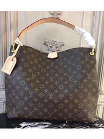 2018 louis vuitton original monogram canvas graceful hobo mm M43704 beige