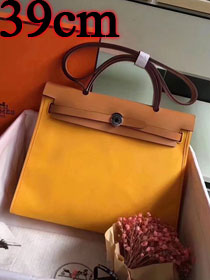 2018 hermes original canvas&calfskin leather her bag H039 coffee&yellow