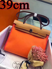 Hermes original canvas&calfskin leather large her bag H039 coffee&orange