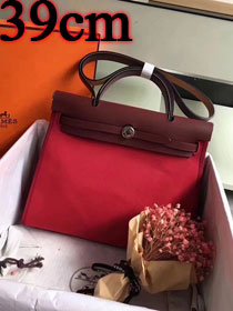 Hermes original canvas&calfskin leather large her bag H039 bordeaux&rose red