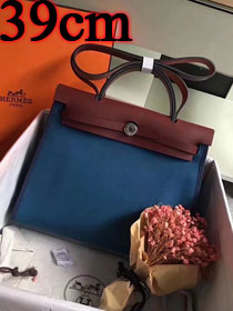 Hermes original canvas&calfskin leather large her bag H039 bordeaux&navy blue