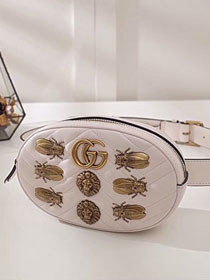 2017 GG Marmont animal studs leather large belt bag 491294 white