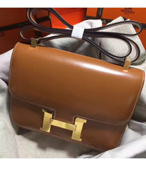 Hermes original box leather constance bag C023 coffee