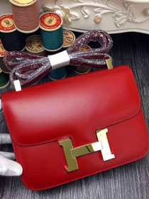 Hermes original box leather constance bag C023 red