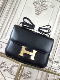 Hermes original box leather small constance bag C019 black