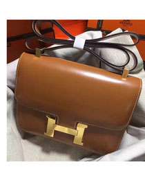 Hermes original box leather small constance bag C019 coffee