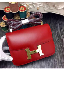 Hermes original box leather small constance bag C019 red