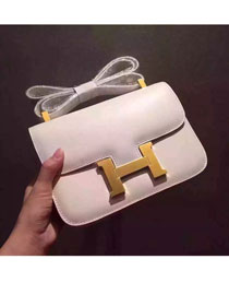 Hermes original box leather small constance bag C019 white
