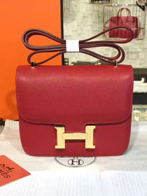 Hermes original epsom leather constance bag C23 bordeaux