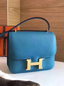 Hermes original epsom leather constance bag C23 lake blue