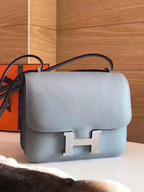 Hermes original epsom leather constance bag C23 light blue
